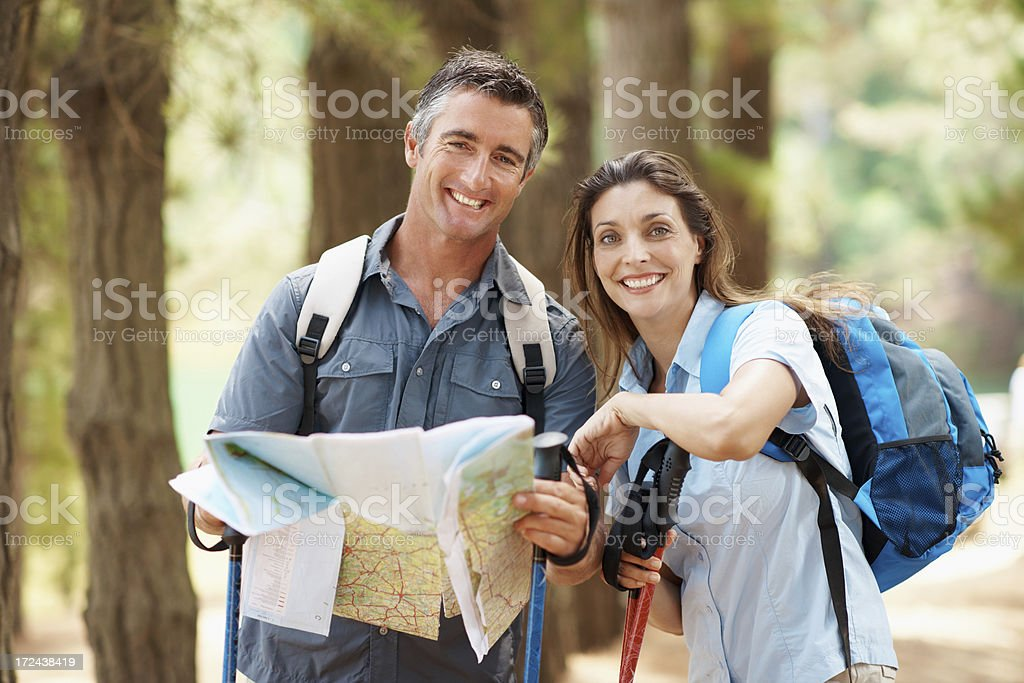 Happy smiles along the trail royalty-free stock photo