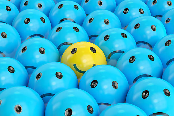 happy smiley between sad ones, 3d rendering - smiley face stock photos and pictures