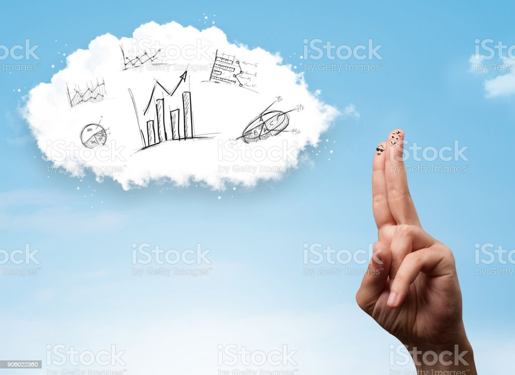 Happy smiley fingers looking at cloud with hand drawn charts stock photo