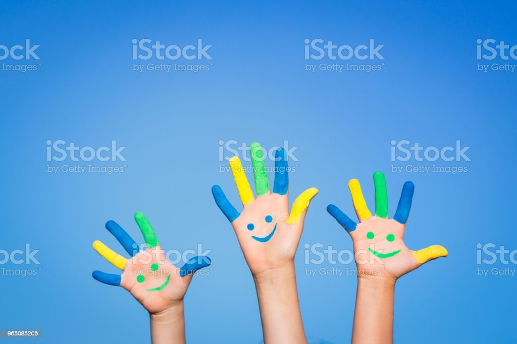 Happy smiley hands royalty-free stock photo
