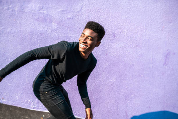 Happy Smiling African young man. stock photo