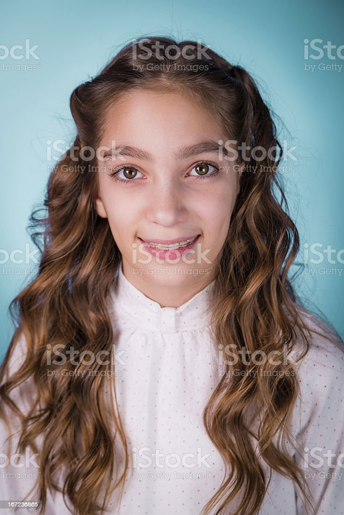 Happy smiling beautiful girl with braces royalty-free stock photo