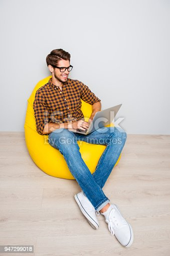 944992706 istock photo Happy smiling blogger sitting in armchair and typing on laptop 947299018