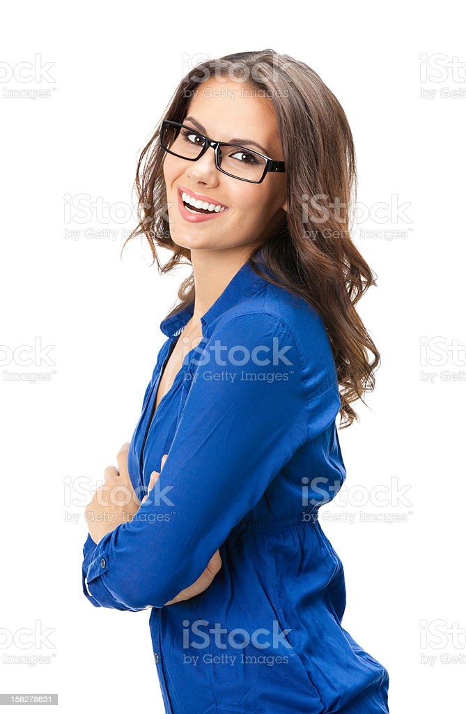 Happy smiling business woman, over white stock photo
