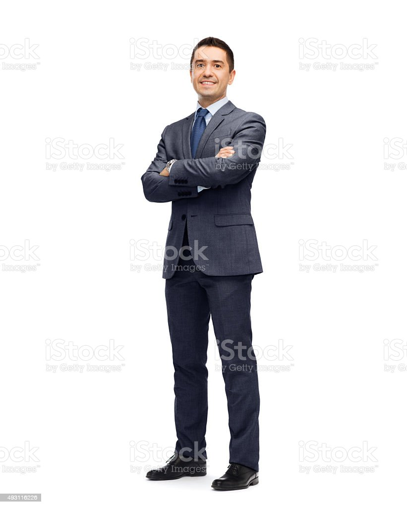 幸せな笑顔のビジネスマンにスーツ ストックフォト