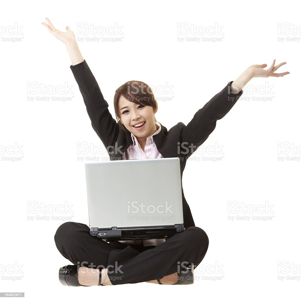 happy smiling businesswoman royalty-free stock photo