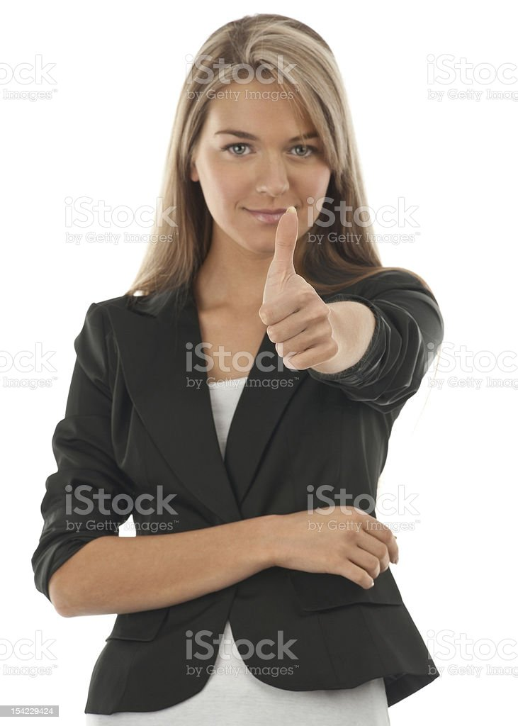Happy smiling businesswoman with thumbs up royalty-free stock photo