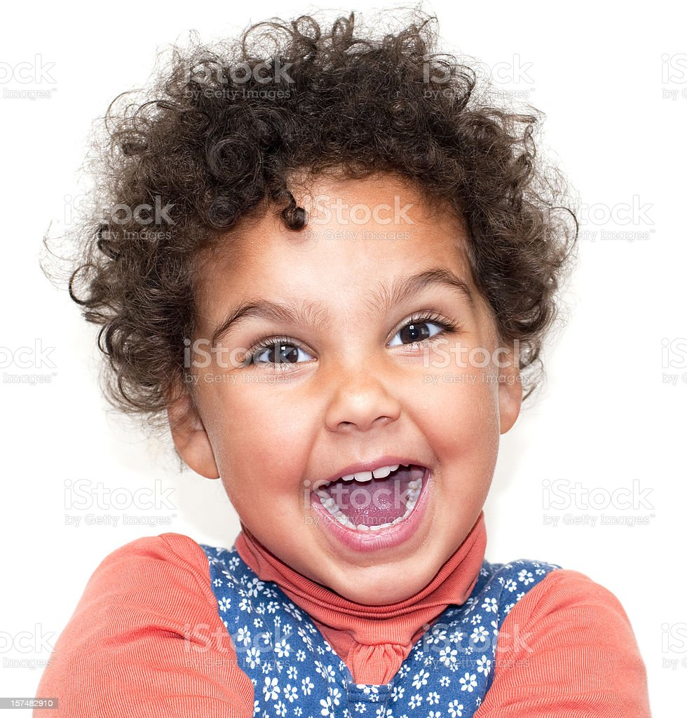 Happy Smiling Child ( 2-3) on White Background royalty-free stock photo
