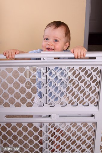 istock A happy smiling child over a child proofing fence 182841333