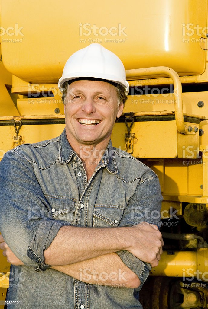 Happy smiling construction worker. royalty-free stock photo