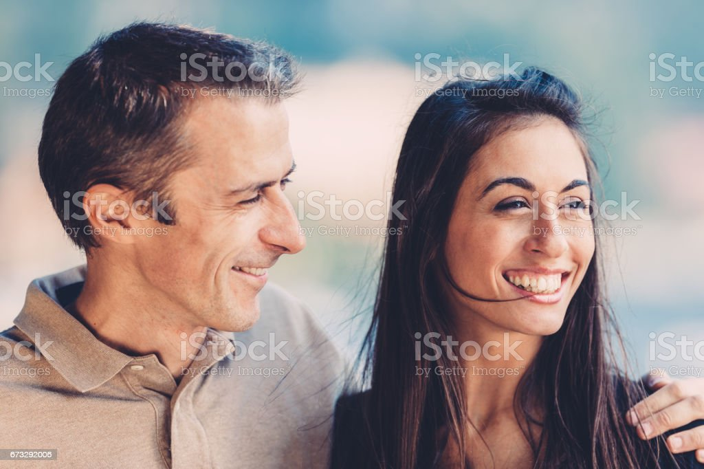 Happy smiling couple together in their vacations royalty-free stock photo