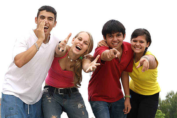happy smiling diverse group of youth or teens stock photo