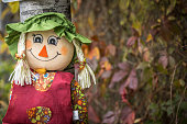 Happy smiling Halloween scarecrow puppet decorations.