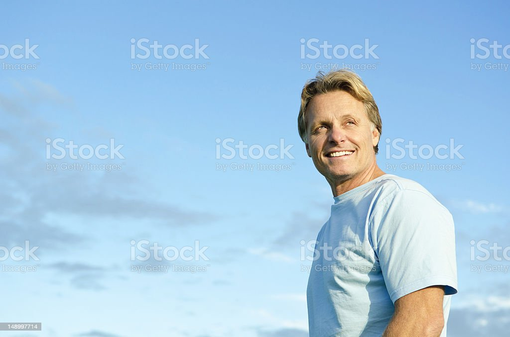happy smiling man in his forties stock photo