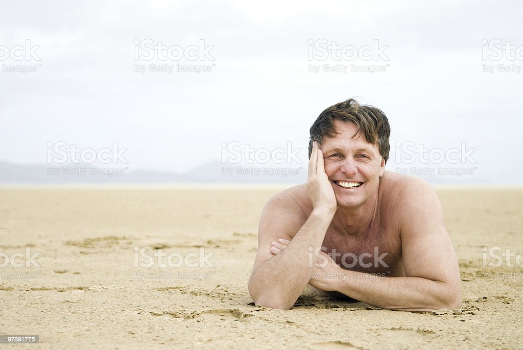 happy smiling man on beach royalty-free stock photo