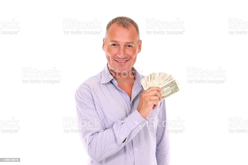 Happy Smiling Man Showing Money stock photo