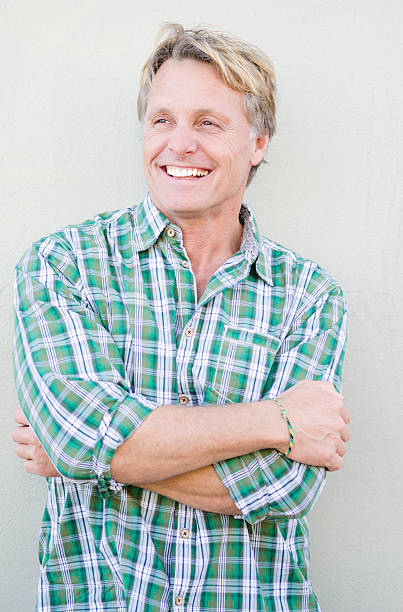 happy smiling mature man stock photo