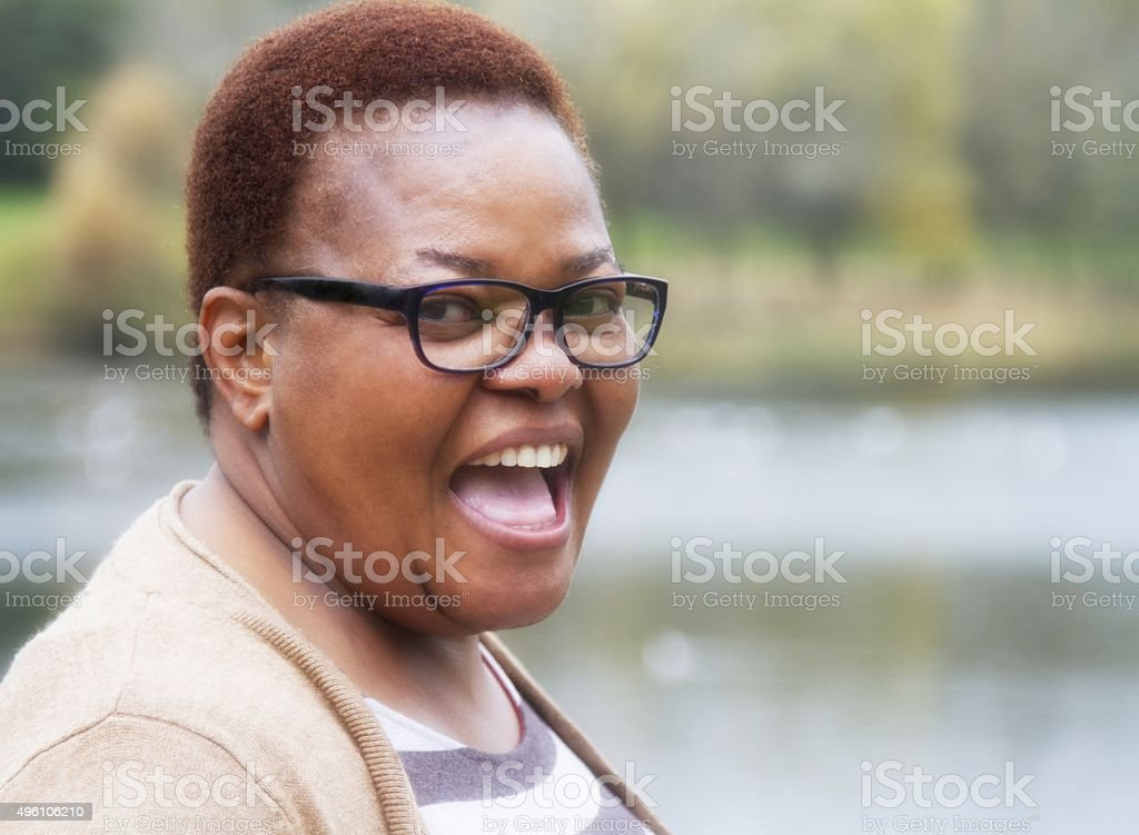 Happy, smiling mature woman stock photo