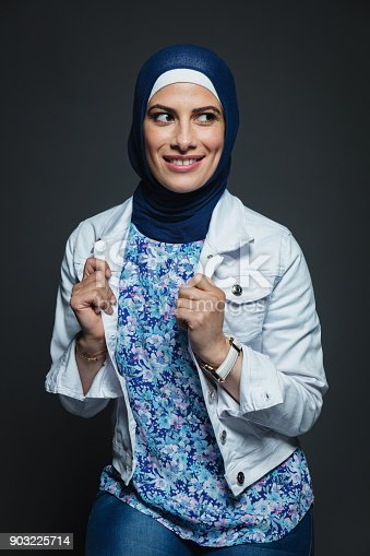 istock Happy smiling middle eastern woman with hijab portrait 903225714