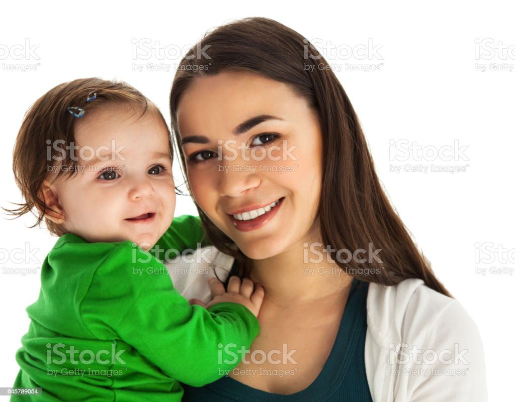 Happy smiling mother with baby girl stock photo