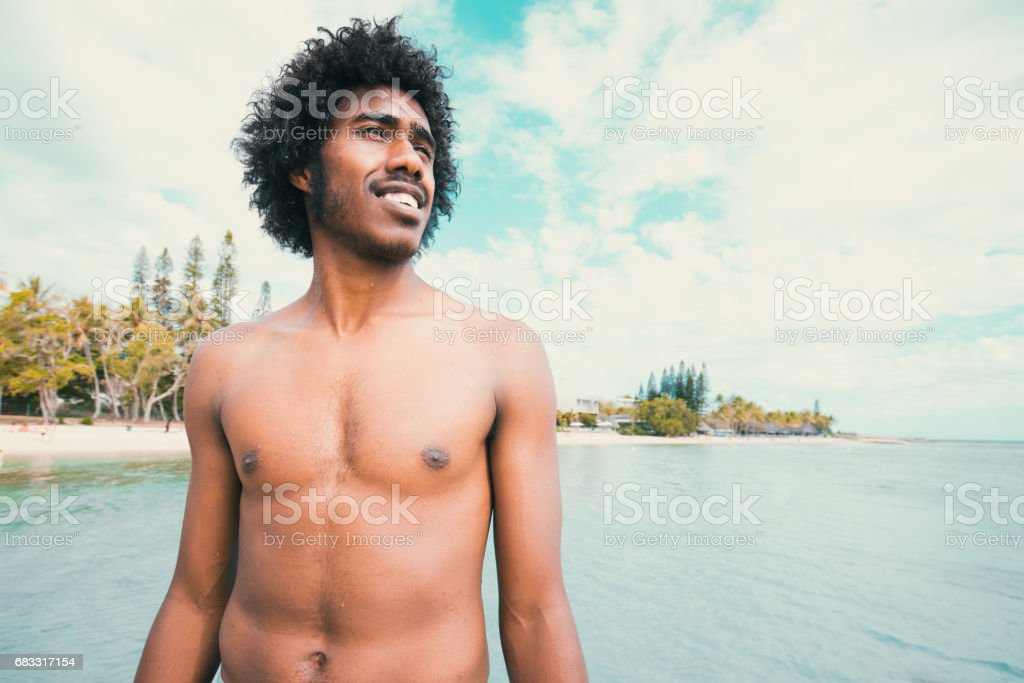 Happy Smiling Pacific Islander Noumea Beach New Caledonia royalty-free stock photo