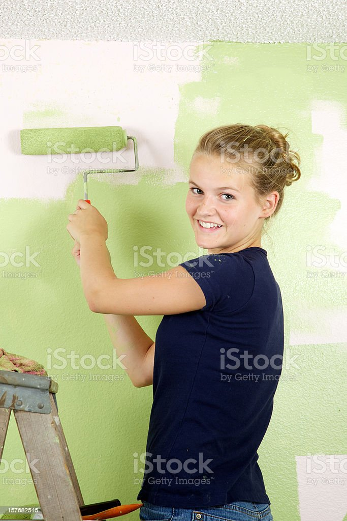 Happy Smiling Painting Girl royalty-free stock photo