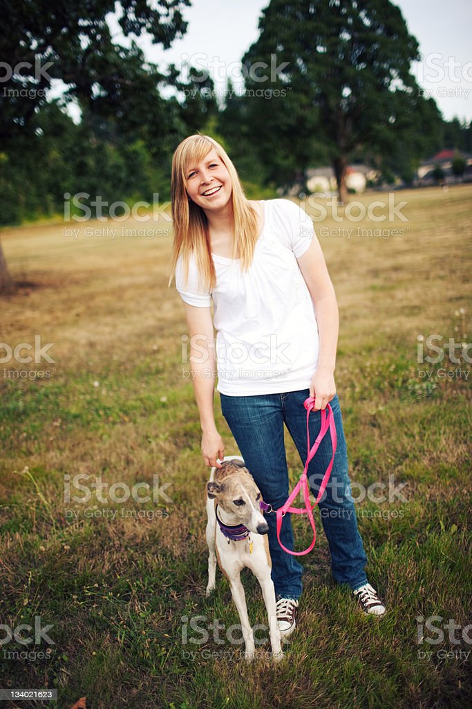 Happy Smiling Park Woman Dog royalty-free stock photo