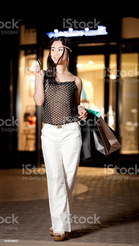 Happy smiling shopping girl royalty-free stock photo