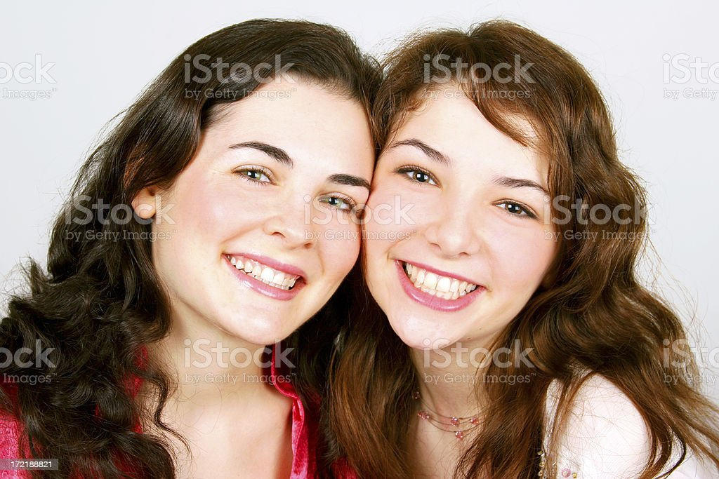 Happy Smiling Sisters royalty-free stock photo