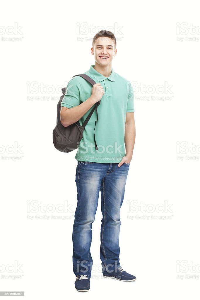 happy smiling student with backpack stock photo