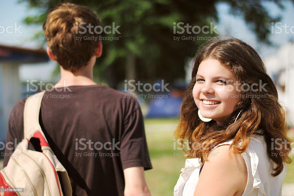 Happy smiling teenage girl portrait royalty-free stock photo