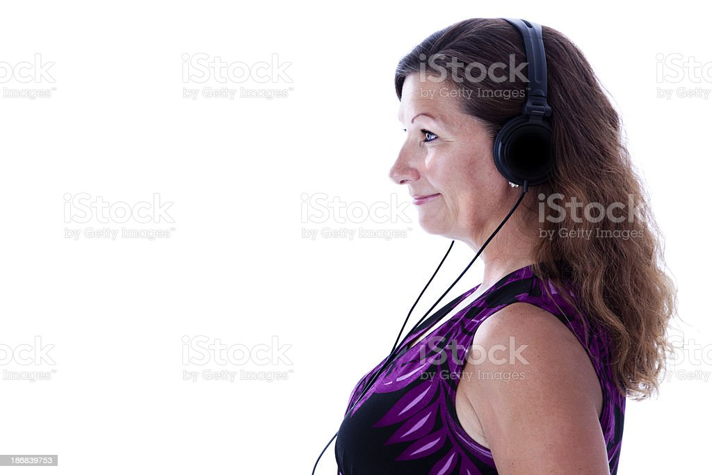 Happy Smiling Woman with Headphones stock photo