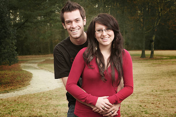 Happy Smiling Young Couple Portrait stock photo