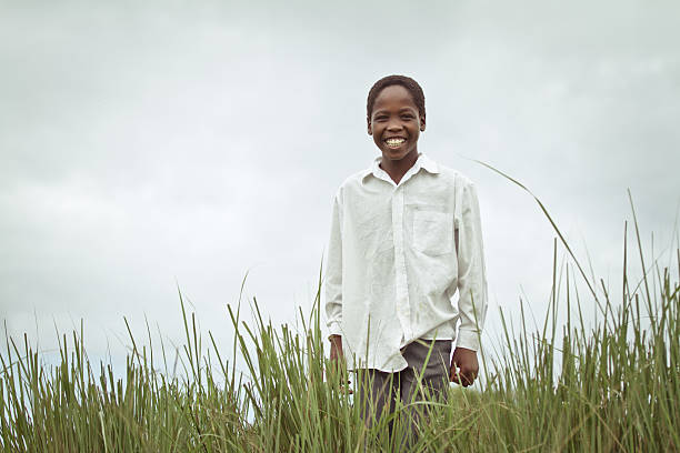 Happy Smiling Young South African Boy stock photo