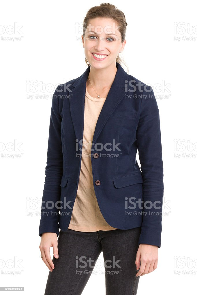 Happy Smiling Young Woman In Blazer royalty-free stock photo