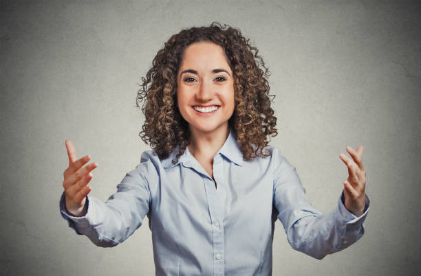 Happy smiling young woman stock photo