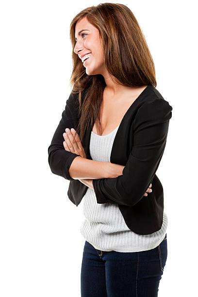 Happy Smiling Young Woman, Side View stock photo