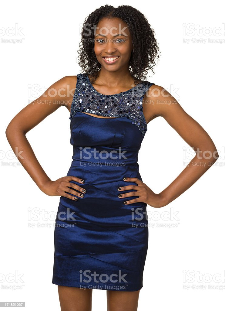 Happy Smiling Young Woman Standing With Arms Akimbo royalty-free stock photo
