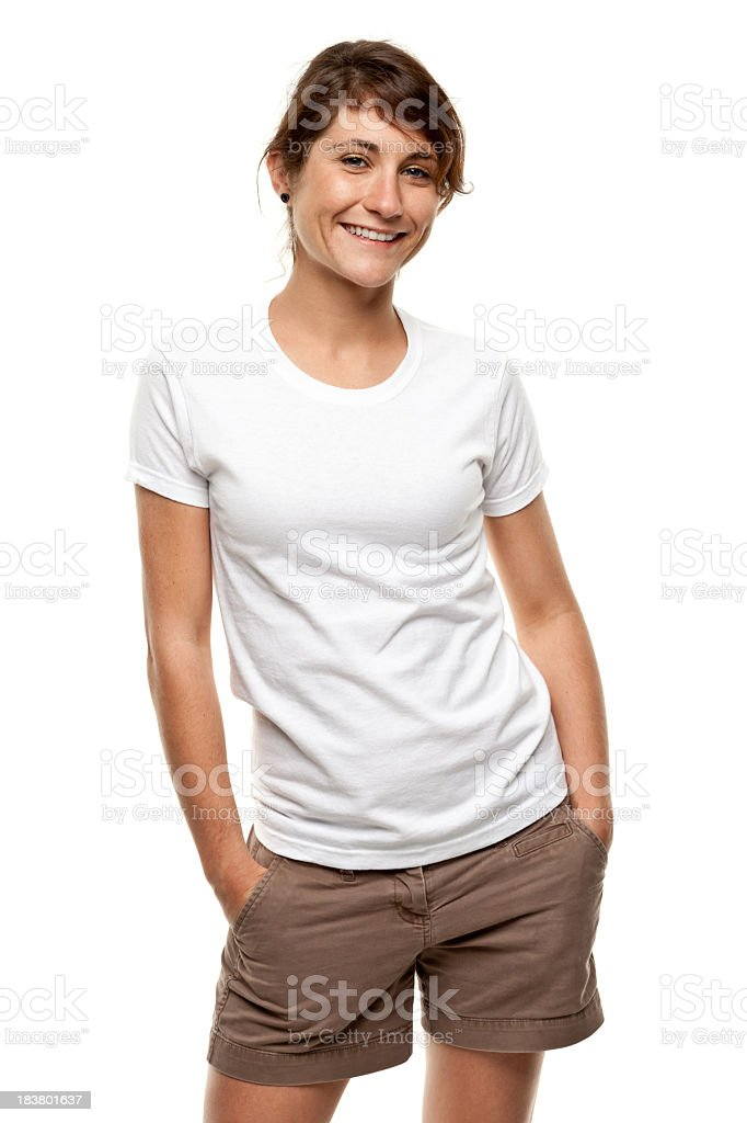 Happy Smiling Young Woman Three Quarter Length Portrait royalty-free stock photo