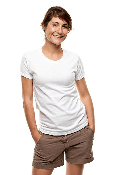 Happy Smiling Young Woman Three Quarter Length Portrait stock photo