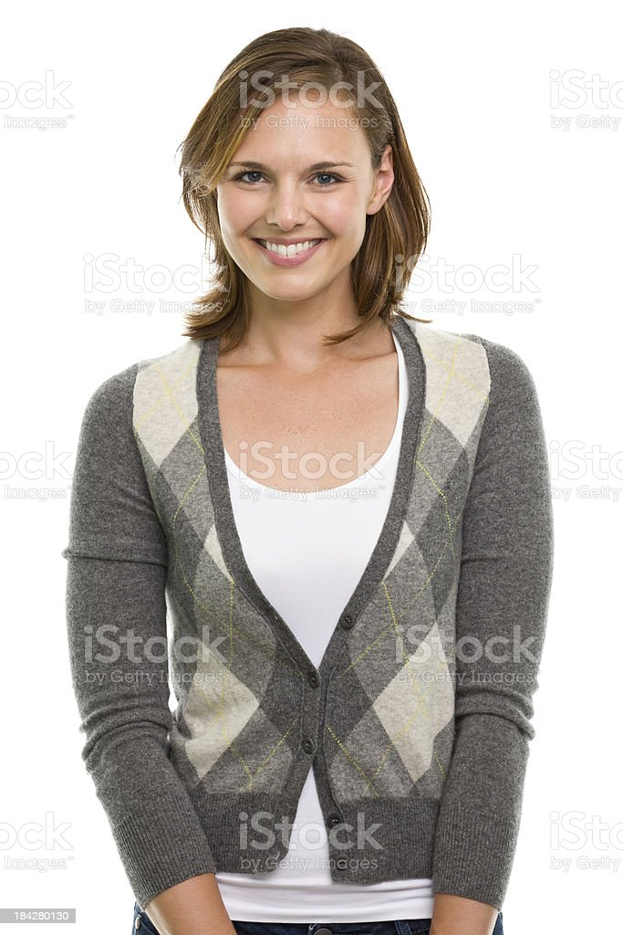 Happy Smiling Young Woman Waist-Up Portrait royalty-free stock photo