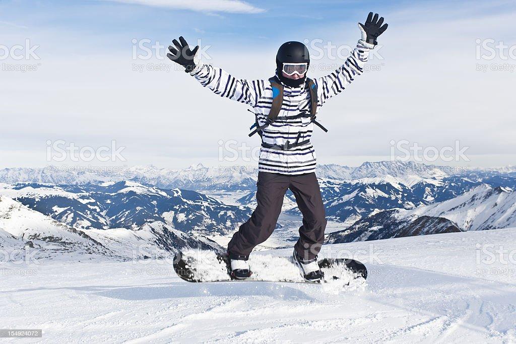 Happy snowboarder royalty-free stock photo