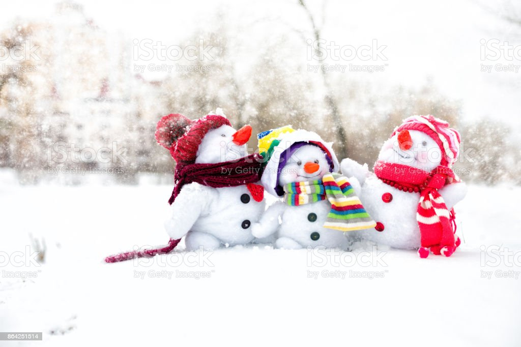 Happy snowman family royalty-free stock photo