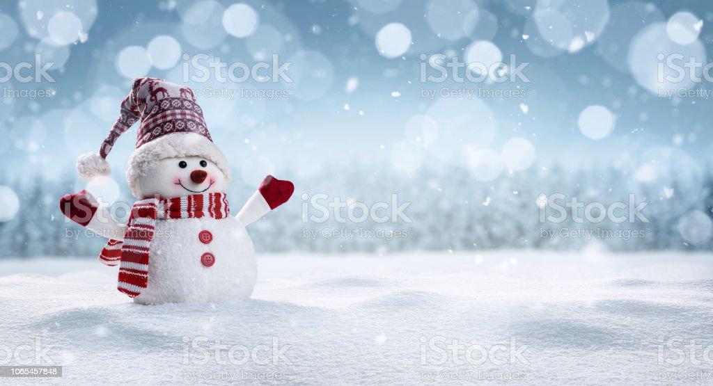 행복 한 눈사람 겨울 secenery에 royalty-free 스톡 사진