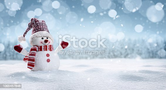 Panoramic view of happy snowman in winter secenery with copy space
