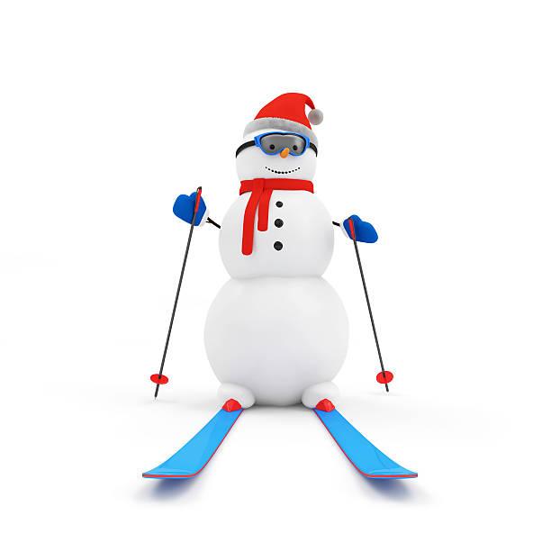 glücklich schneemann auf skifahren, isoliert auf weißem hintergrund - schnelles weihnachtsessen stock-fotos und bilder