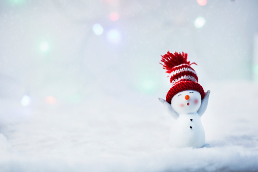 Happy snowman standing in winter christmas landscape. Merry christmas and happy new year greeting card. Funny snowman in hat on snowy background. Copy space for text