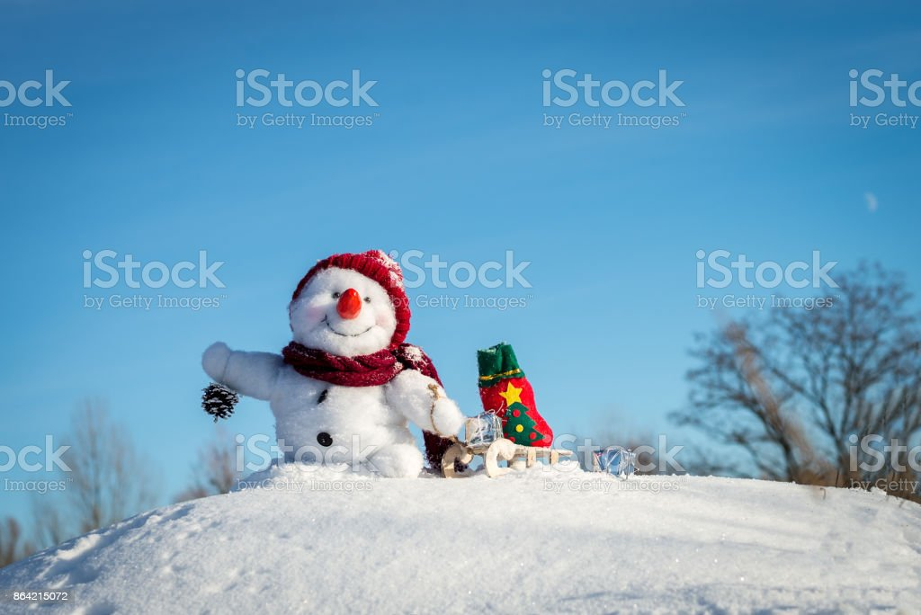 Happy snowman with hat royalty-free stock photo