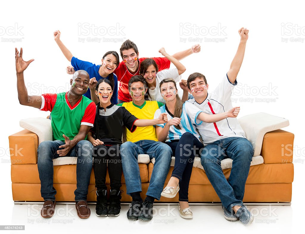 Happy soccer fans stock photo