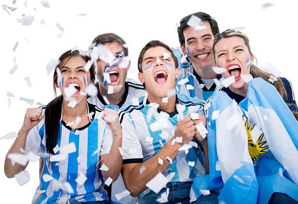 Happy soccer fans stock photo
